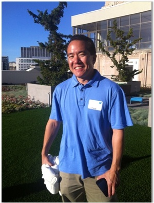 Dennis Shiao atop the green roof at Twitter HQ