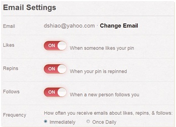 The Email Settings menu in Pinterest