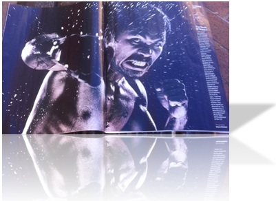 A two-page spread in Sports Illustrated, featuring Oscar De Lla Hoya