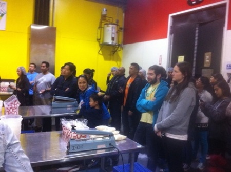 Volunteers in the kitchen of the San Francisco Food Bank