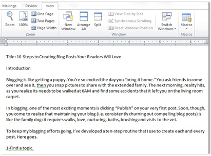I compose my blog posts in Microsoft Word