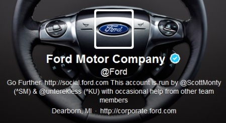 Ford's Twitter profile - love that steering wheel