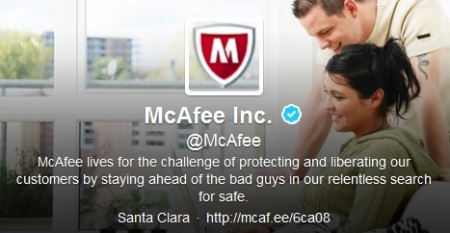 McAfee's Twitter profile
