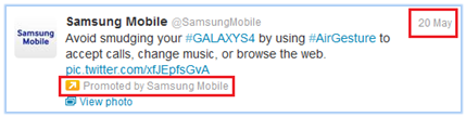 Promoted Tweet from Samsung Mobile