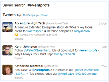 Following the eventprofs hash tag is done via Twitter search