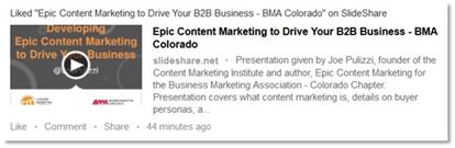 SlideShare Like in LinkedIn Newsfeed