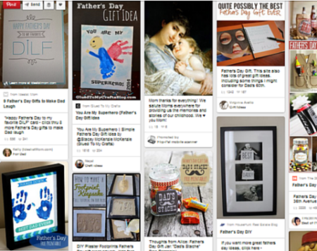 A Pinterest search for Fathers Day gifts