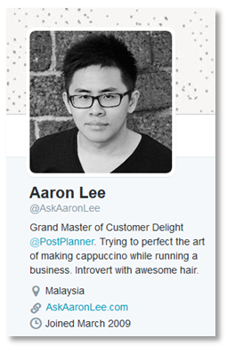 Twitter profile of Aaron Lee