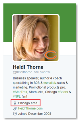 twitter profile of Heidi Thorne